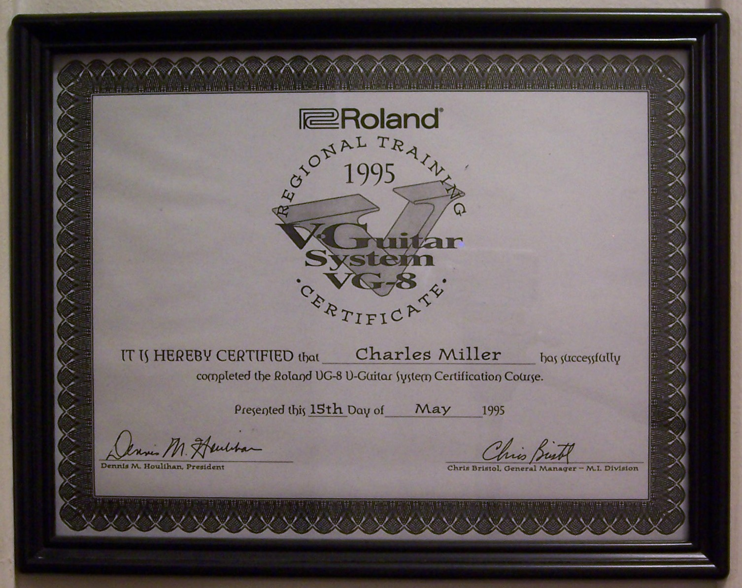 Chuck Miller S Guitar Center Awards Certifications And Letters